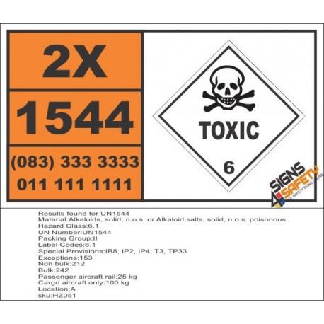 UN1544 Alkaloids, solid, n.o.s. or Alkaloid salts, solid, n.o.s. poisonous, Toxic (6), Hazchem Placard