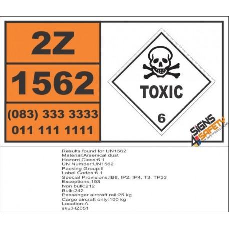 UN1562 Arsenical dust, Toxic (6), Hazchem Placard