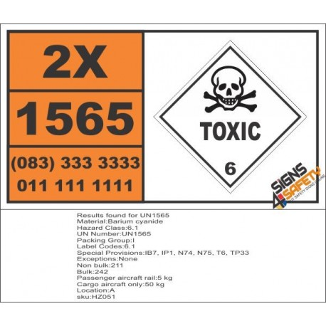 UN1565 Barium cyanide, Toxic (6), Hazchem Placard