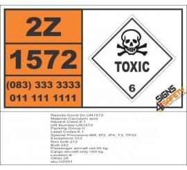 UN1572 Cacodylic acid, Toxic (6), Hazchem Placard