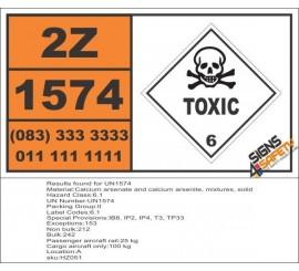 UN1574 Calcium arsenate and calcium arsenite, mixtures, solid, Toxic (6), Hazchem Placard