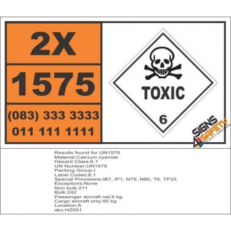 UN1575 Calcium cyanide, Toxic (6), Hazchem Placard