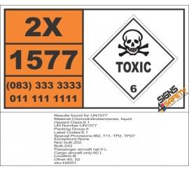 UN1577 Chlorodinitrobenzenes, liquid, Toxic (6), Hazchem Placard