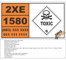UN1580 Chloropicrin, Toxic (6), Hazchem Placard