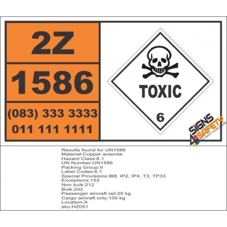 UN1586 Copper arsenite, Toxic (6), Hazchem Placard