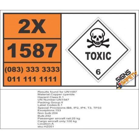 UN1587 Copper cyanide, Toxic (6), Hazchem Placard