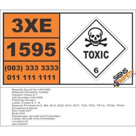 UN1595 Dimethyl sulfate, Toxic (6), Hazchem Placard
