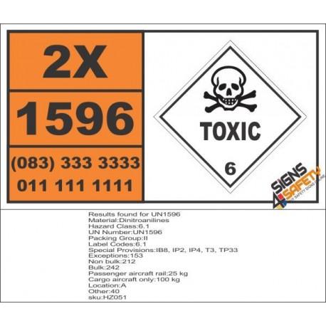 UN1596 Dinitroanilines, Toxic (6), Hazchem Placard