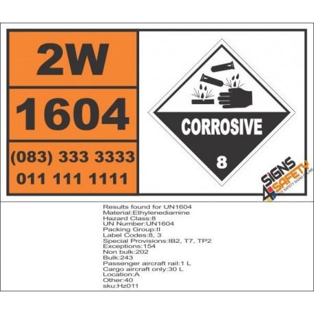 UN1604 Ethylenediamine, Corrosive (8), Hazchem Placard