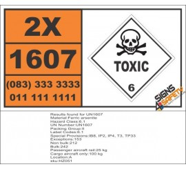 UN1607 Ferric arsenite, Toxic (6), Hazchem Placard