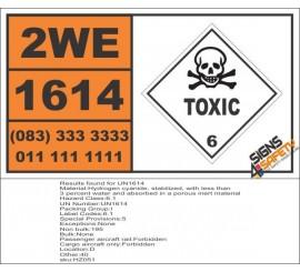 UN1614 Hydrogen cyanide, stabilized, Toxic (6), Hazchem Placard