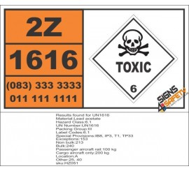 UN1616 Lead acetate, Toxic (6), Hazchem Placard