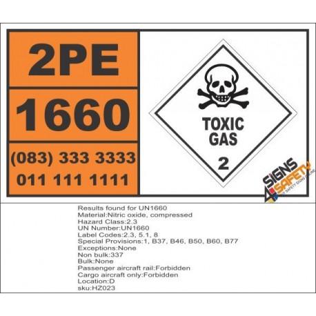 UN1660 Nitric oxide, compressed, Toxic Gas (6), Hazchem Placard