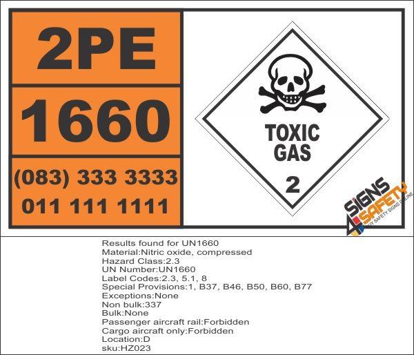 Un1660 Nitric Oxide Compressed Toxic Gas 6 Hazchem Placard
