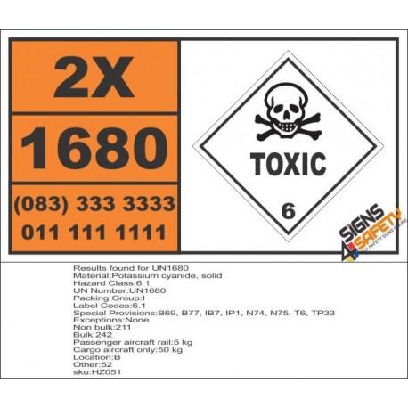 UN1680 Potassium cyanide, solid, Toxic (6), Hazchem Placard
