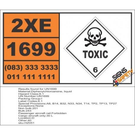 UN1699 Diphenylchloroarsine, liquid, Toxic (6), Hazchem Placard