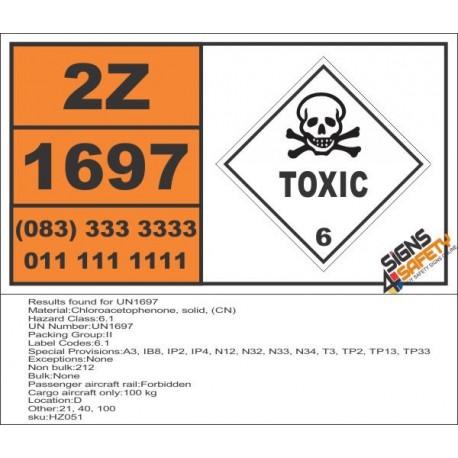 UN1697 Chloroacetophenone, solid, (CN), Toxic (6), Hazchem Placard