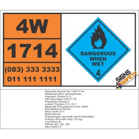 UN1714 Zinc phosphide, Dangerous When Wet (4), Hazchem Placard
