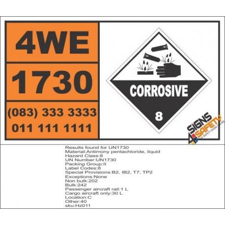 UN1730 Antimony pentachloride, liquid, Corrosive (8), Hazchem Placard