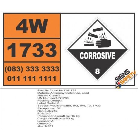 UN1733 Antimony trichloride, solid or liquid, Corrosive (8), Hazchem Placard