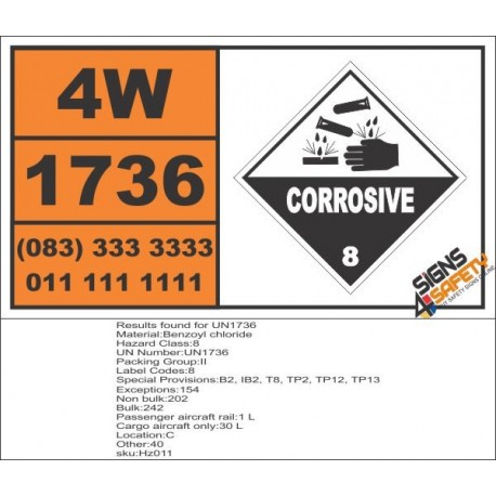 UN1736 Benzoyl chloride, Corrosive (8), Hazchem Placard