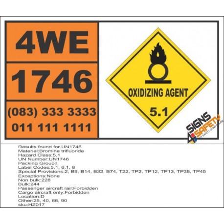 UN1746 Bromine trifluoride, Oxidizing Agent (5), Hazchem Placard