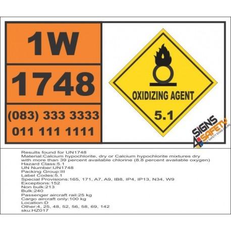 UN1748 Calcium hypochlorite, dry or Calcium hypochlorite mixtures dry, Oxidizing Agent (5), Hazchem Placard