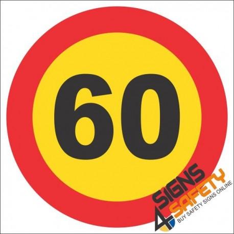 60km/h Speed Limit Reflective Hazchem Sign