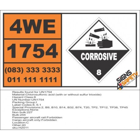 UN1754 Chlorosulfonic acid (with or without sulfur trioxide), Corrosive (8), Hazchem Placard