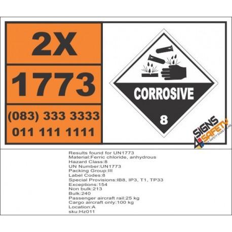 UN1773 Ferric chloride, anhydrous, Corrosive (8), Hazchem Placard