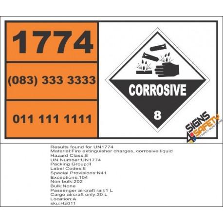 UN1774 Fire extinguisher charges, corrosive liquid, Corrosive (8), Hazchem Placard