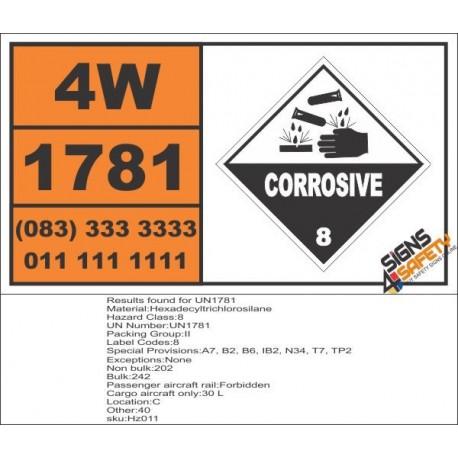 UN1781 Hexadecyltrichlorosilane, Corrosive (8), Hazchem Placard