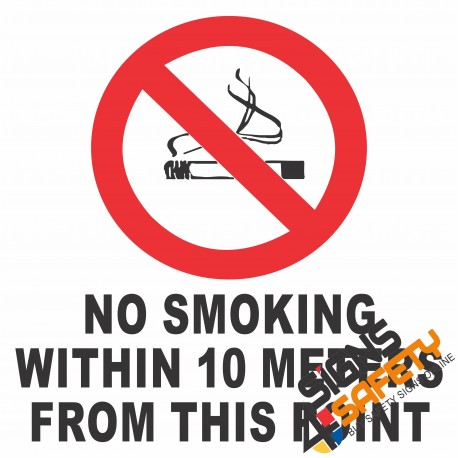 (NS10) No Smoking Within 10 Meter From This Point Sign