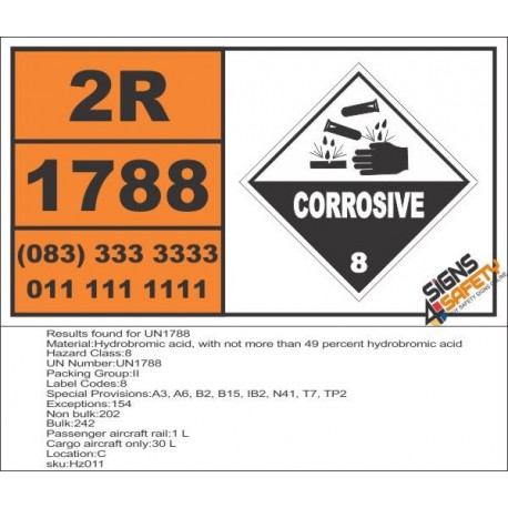 UN1788 Hydrobromic acid, with not more than 49 percent hydrobromic acid, Corrosive (8), Hazchem Placard