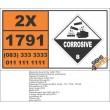 UN1791 Hypochlorite solutions, Corrosive (8), Hazchem Placard