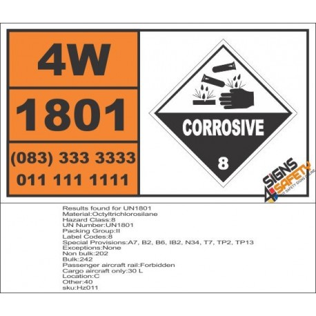 UN1801 Octyltrichlorosilane, Corrosive (8), Hazchem Placard
