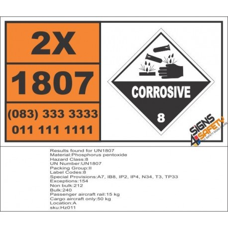 UN1807 Phosphorus pentoxide, Corrosive (8), Hazchem Placard