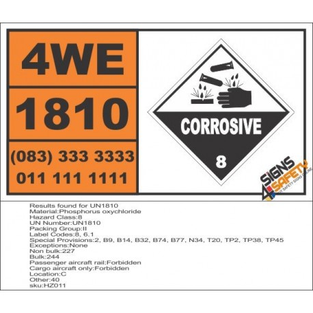 UN1810 Phosphorus oxychloride, Corrosive (8), Hazchem Placard