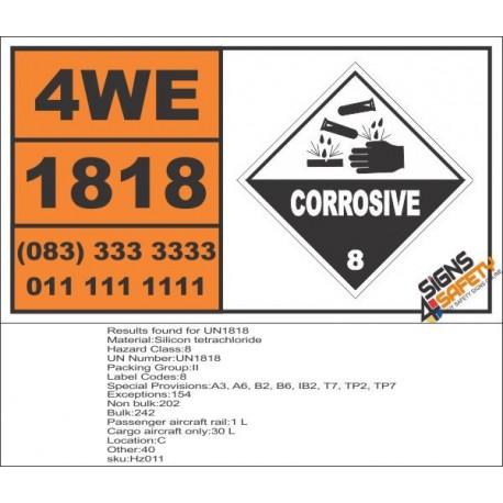 UN1818 Silicon tetrachloride, Corrosive (8), Hazchem Placard