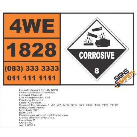 UN1828 Sulfur chlorides, Corrosive (8), Hazchem Placard