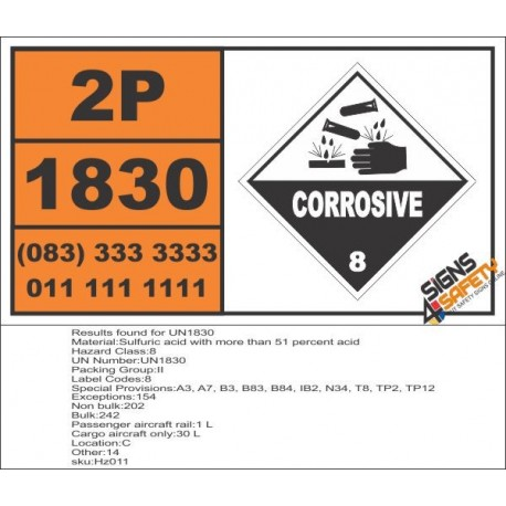 UN1830 Sulfuric acid with more than 51 percent acid, Corrosive (8), Hazchem Placard