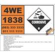 UN1838 Titanium tetrachloride, Corrosive (8), Hazchem Placard