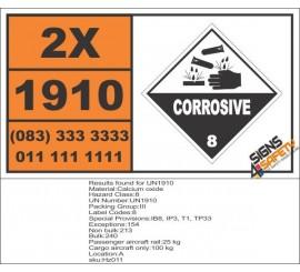 UN1910 Calcium oxide, Corrosive (8), Hazchem Placard