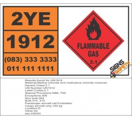 UN1912 Methyl chloride and methylene chloride mixtures, Flammable Gas (2), Hazchem Placard