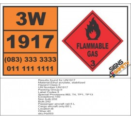 UN1917 Ethyl acrylate, stabilized, Flammable Liquid (3), Hazchem Placard
