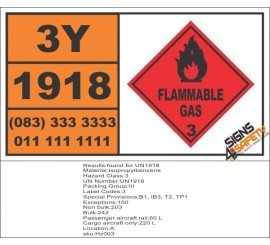 UN1918 Isopropylbenzene, Flammable Liquid (3), Hazchem Placard