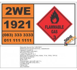 UN1921 Propyleneimine, stabilized, Flammable Liquid (3), Hazchem Placard
