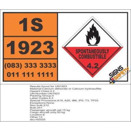 UN1923 Calcium dithionite or Calcium hydrosulfite, Spontaneous Combustible (4), Hazchem Placard