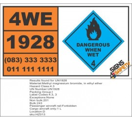 UN1928 Methyl magnesium bromide, in ethyl ether, Dangerous When Wet (4), Hazchem Placard