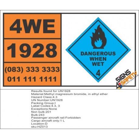UN1928 Methyl magnesium bromide, in ethyl ether, Dangerous When Wet (4), Hazchem Placard